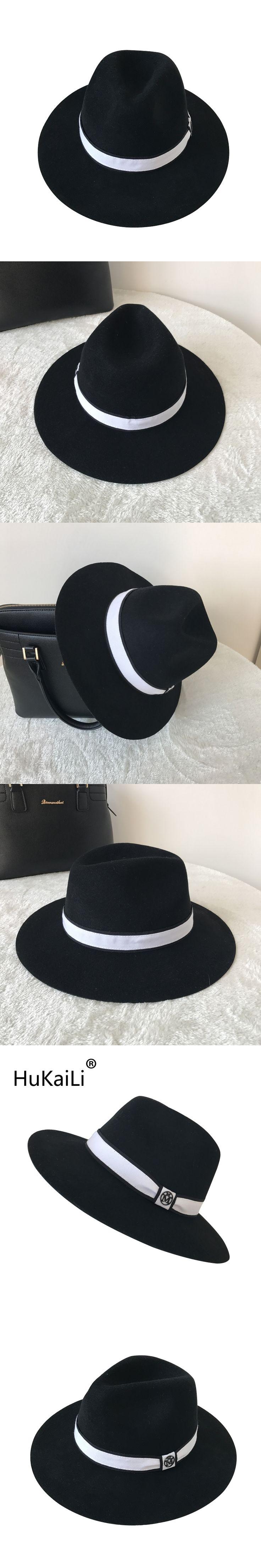 2017 black double letters Metal logo wool hat Jazz cap hat wide-brim hats Black and white ribbon decoration