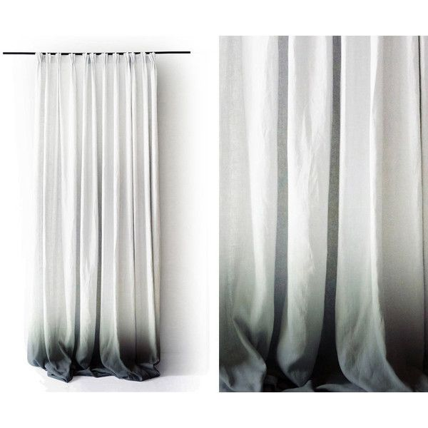 Ombre linen drapes Grey fade to white Pinch pleat window curtain... ($288) ❤ liked on Polyvore featuring home, home decor, window treatments, curtains, dip dyed curtains, grey ombre curtains, linen curtains, white window treatments and linen drapery