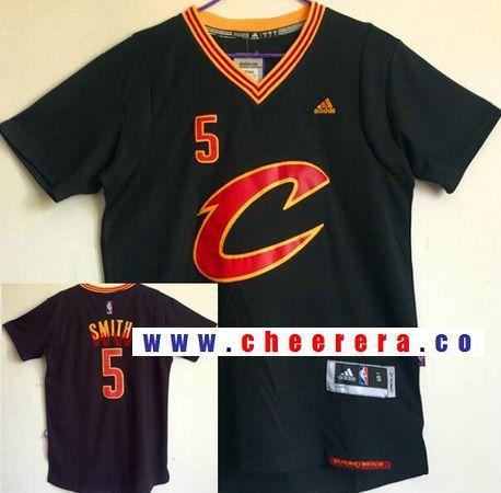 6e7e9b681c2 Men s Cleveland Cavaliers  5 J.R. Smith New Black Short-Sleeved adidas  Revolution 30 Swingman Stitched NBA Jersey