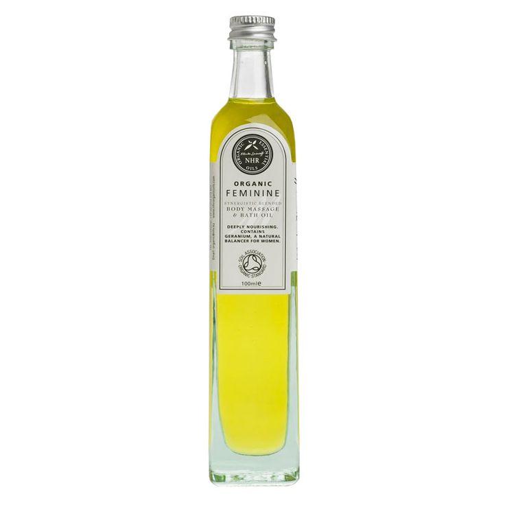 Økologisk massageolie med æteriske olier fra roser, geranium og lavendel