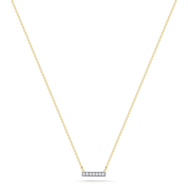 SYLVIE ROSE: A dainty necklace featuring 0.04 carats of diamonds on a 14k yellow gold chain. Perfect for everyday!