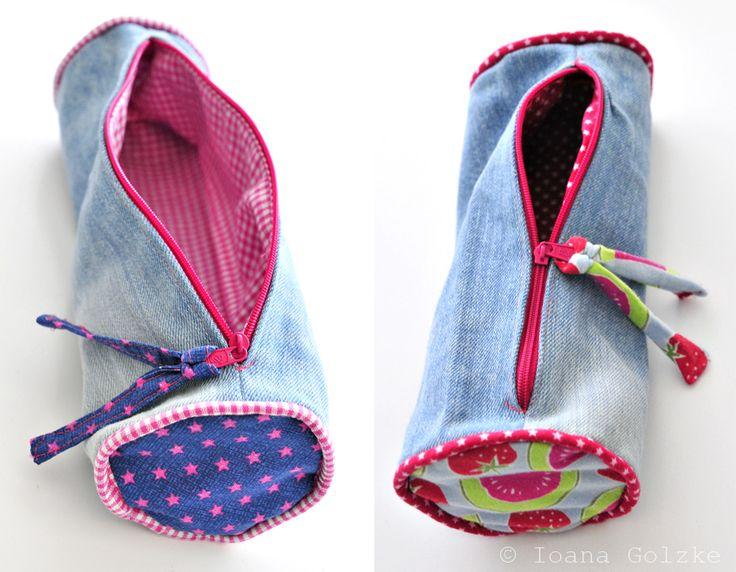 miss-red-fox - Upcycling - Jeans reloaded - Mälppchen oder Etui für Kinder - Etuis hellblau pink blau Mädchen Melone Erdbeere Sterne