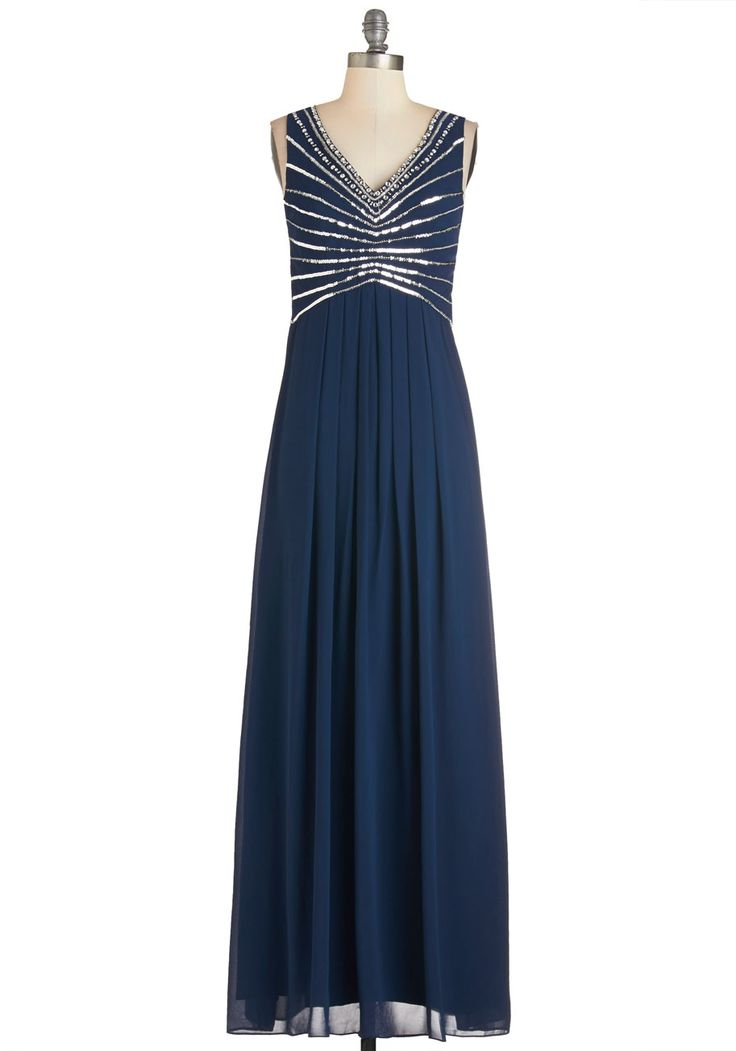 Symmetry in Sparkles Dress - Long, Woven, Blue, Silver, Backless, Beads, Special Occasion, Prom, Homecoming, Maxi, Sleeveless, V Neck
