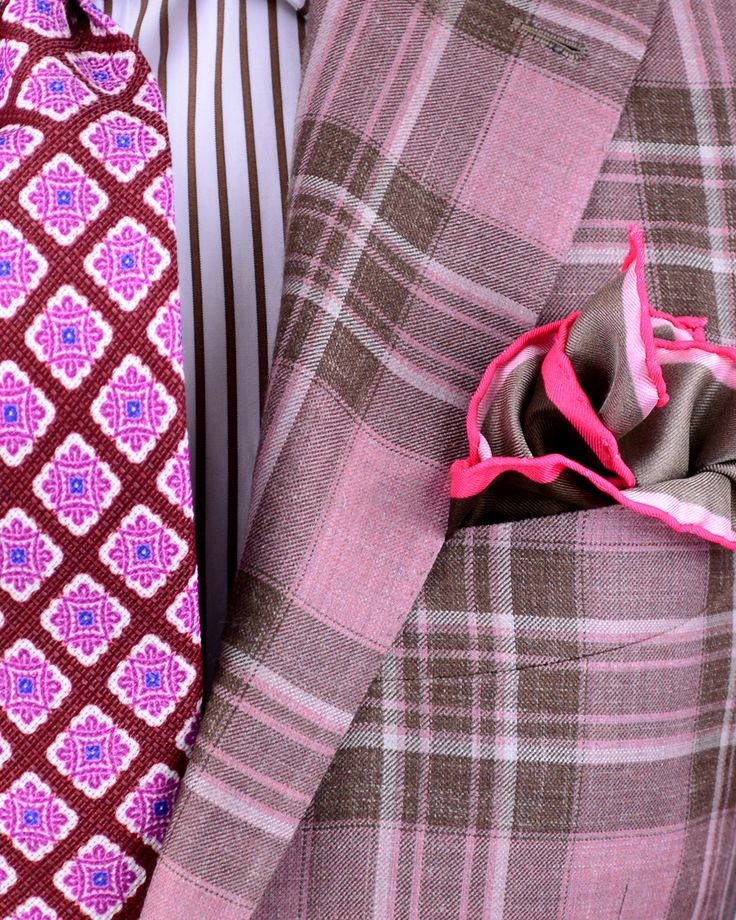 Bring on the pink and bring on the pattern! (Kiton | Salmon Plaid Sportcoat | Apparel | Men's)