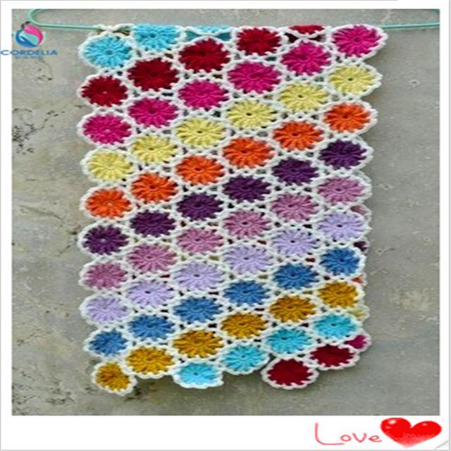 Frete gr tis colorido de croch de l de algod o artesanal - Cobertor para sofa ...