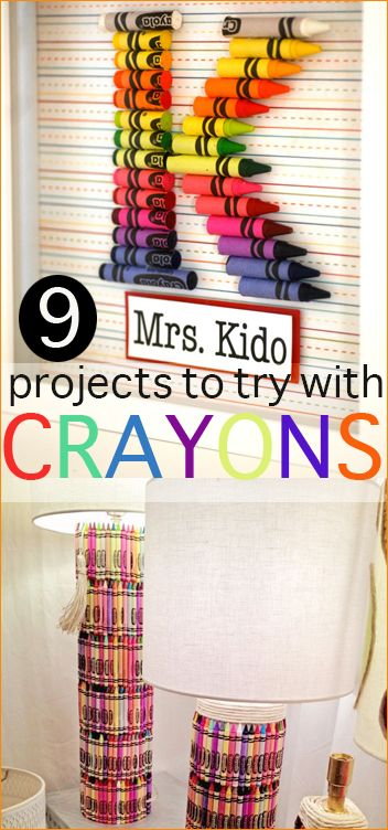 9 Projects to try with Crayons.  Get crafty with broken crayons or new ones.  Melt them or design with them, all kinds of ideas you'll want to try.