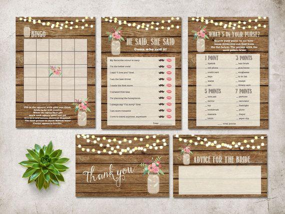 Bridal Shower Games Printable  Games Pack Digital by tranquillina