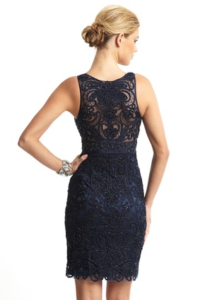 SUE WONG Lace Overlay V-Neck Dress