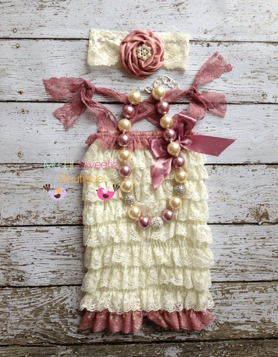 Original ivory and Rose  Lace Petti Romper set- Newborn outfit- Baby Girl outfit- Toddler outfit- 1st birthday outfit