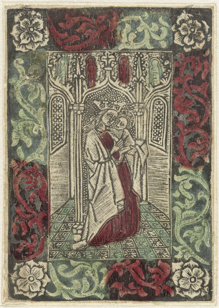 Anonymous | Maria met Kind staand voor gotische architectuur in rechthoekige omlijsting met versiering van bladmotieven, Anonymous, 1470 - 1499 |