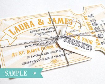 Festival Wedding Invitation with RSVP card by STNstationery
