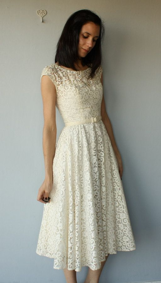 1950s Party Dress 50s Ivory Cutwork Lace