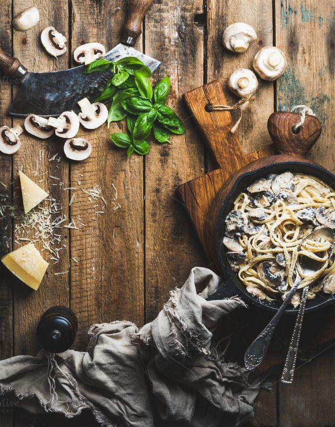 Creamy mushroom pasta spaghetti by Foxys on @creativemarket
