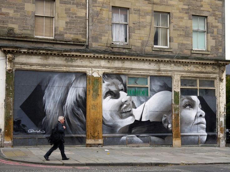"""mural painted on the Victoria India Rubber Mill on Leith Walk, Edinburgh, by photorealistic artist Guido van Helten, based on archival photographs of a 1961 performance of the play """"Seven deadly sins"""" for the Leith Late multi-arts organisation (2014). photo © EdinburghSpotlight.com. guidovanhelten.com"""