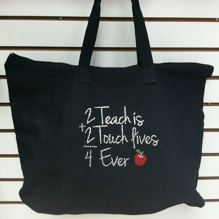 "2 Teach is 2 Touch Lives 4 Ever design on Canvas tote bag. Perfect gift for Teachers. We take custom orders. Call us at 800.391.5899 Tote details: 22"" w x 15"" h with 5"" bottom gusset 100% cotton canva"