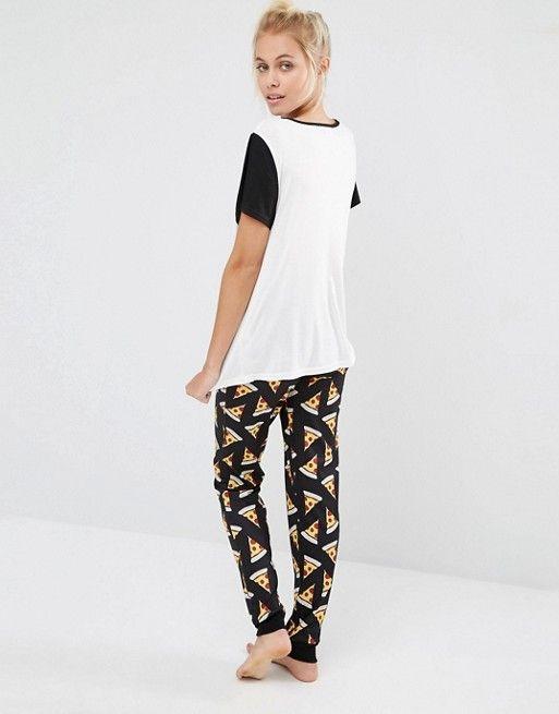 pajamas , pajama set , Soft jersey, crew neck , Minkpink, clothing style pizza Minkpink | Пижамный комплект Minkpink Pizza Love пижама, пижамный комплект, Мягкий трикотаж, Вырез лодочкой, Minkpink, одежда в стиле пицца