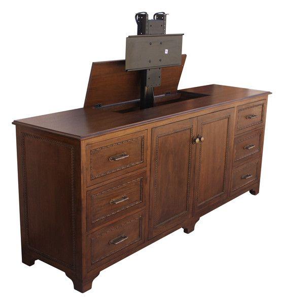 custom mahogany tv lift credenza