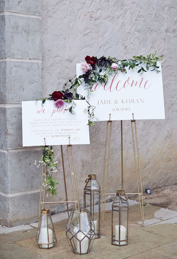41 Edgy Modern Wedding Ideas You'll Love: geometric candle lanterns and copper stands for signage
