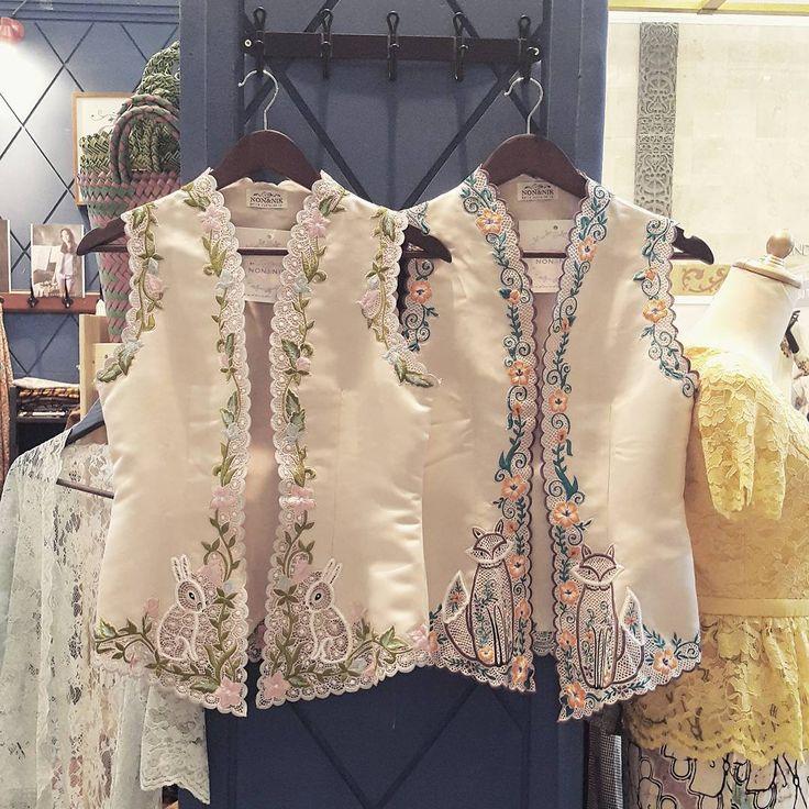 Our kind of kebaya vest   Lulu Rabbit and Rocco Raccoon  Visit us at #indonesiafashionweek2016 JCC Senayan main lobby M 034 10-13 March 2016  #kebaya #kebayaencim #handmade #embroidery #localbrandindonesia #readytowear