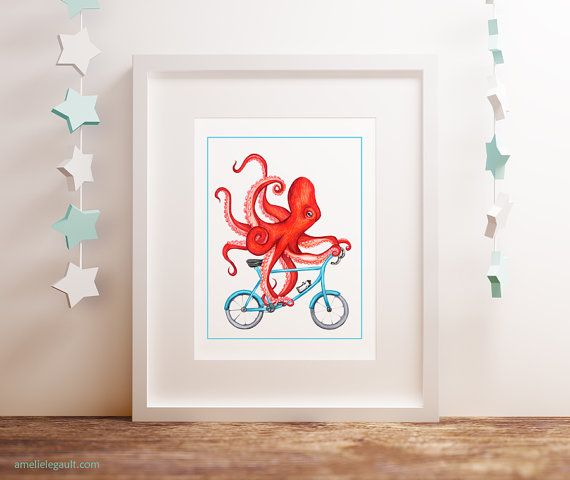 Octopus on bicycle print red octopus on bike by AmelieLegault