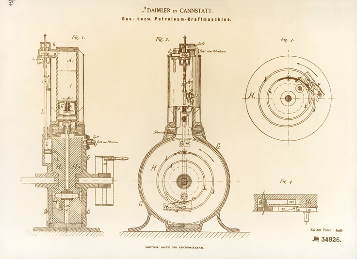 On April 3, 1885, Gottlieb Daimler applied for a patent on his water-cooled single-cylinder internal combustion engine. A refinement of the Otto design, it had many of the features of the modern gasoline engine, including a vertical cylinder and fuel injected through a carburetor. Its water cooling, however, was the most important feature – with that addition, the engine could be made to function at temperatures that would not cause catastrophic failure of the automobile frame.