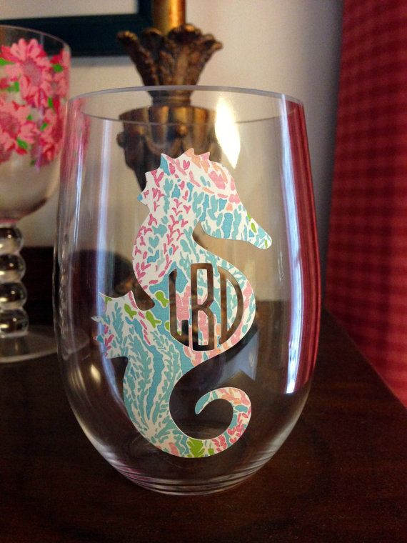 ONE Monogrammed Lilly Pulitzer Print Wine by StitchinMonograms