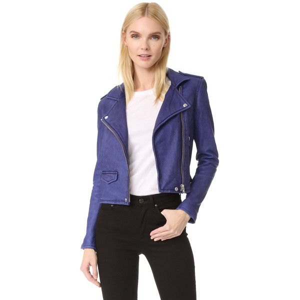 IRO Ashville Leather Jacket (11.274.510 IDR) ❤ liked on Polyvore featuring outerwear, jackets, summer blue, genuine leather jackets, blue moto jackets, blue biker jacket, blue jackets and leather biker jacket