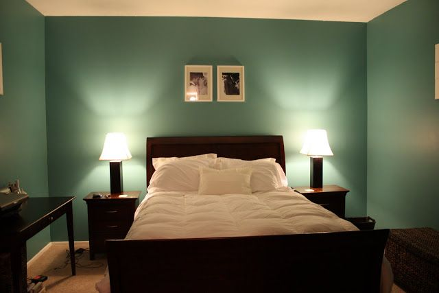 Spa pool blue green master bedroom walls with dark wood and white accents more decor Master bedroom with green walls
