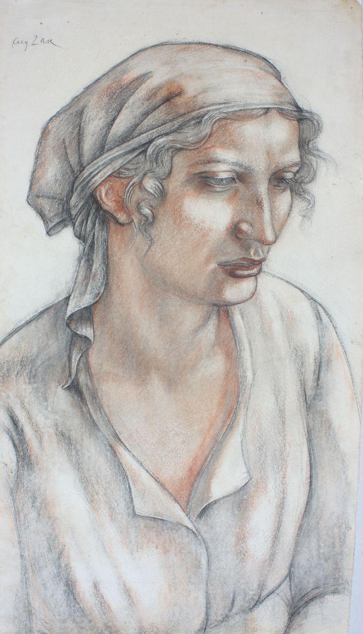EUGENIUSZ ZAK (1884 - 1926)  PORTRET KOBIETY   pastel, karton, / 54 x 31 cm.