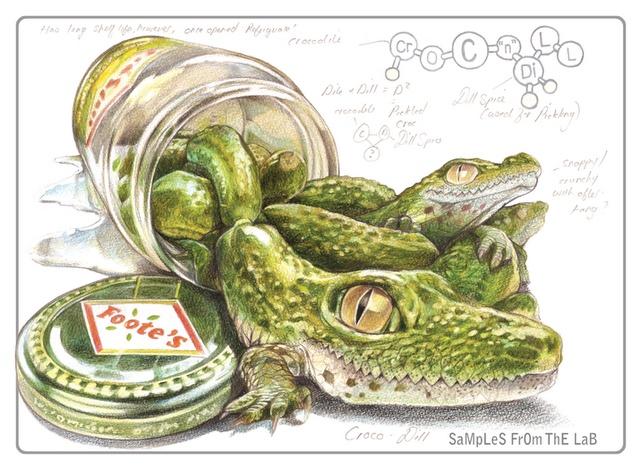 Rob Foote #art #illustration #coloredpencil #colour #pencil #prismacolor #fruit #animal #hybrid #lizard #crocodile #pickle