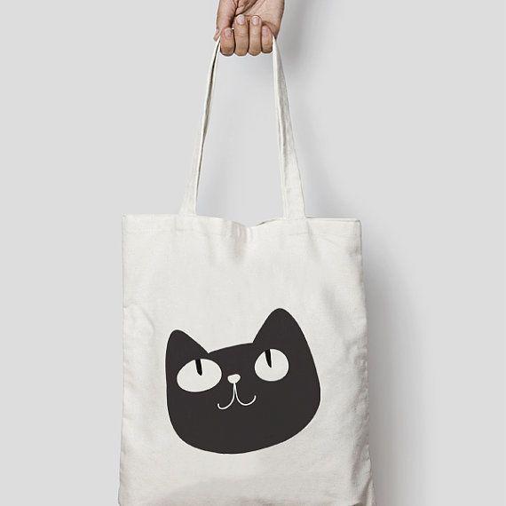 Chat sac fourre-tout en toile ou noir  fait par Hatchesandmatches