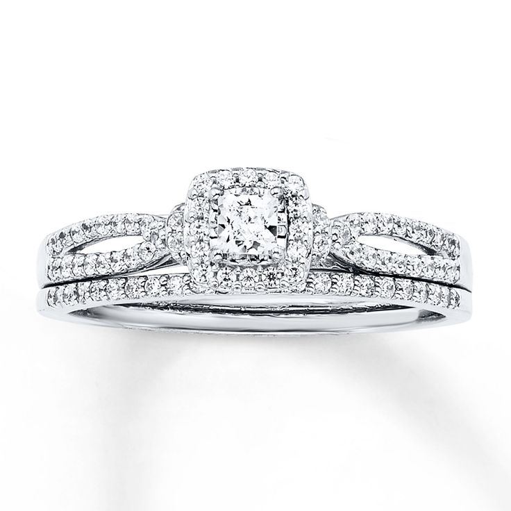 diamond bridal set 12 ct tw princess cut 14k white gold kay jewelers