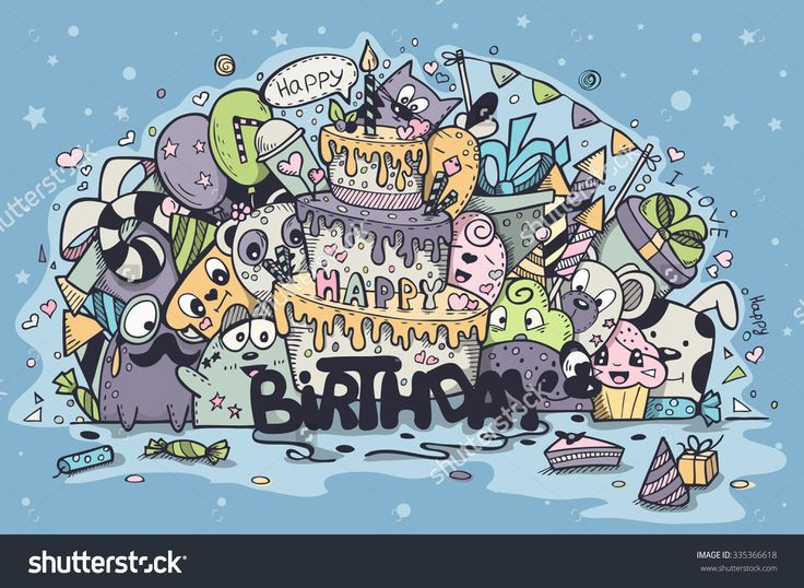 Greeting Card For Birthday Party With Doodles Стоковые фотографии 335366618 : Shutterstock