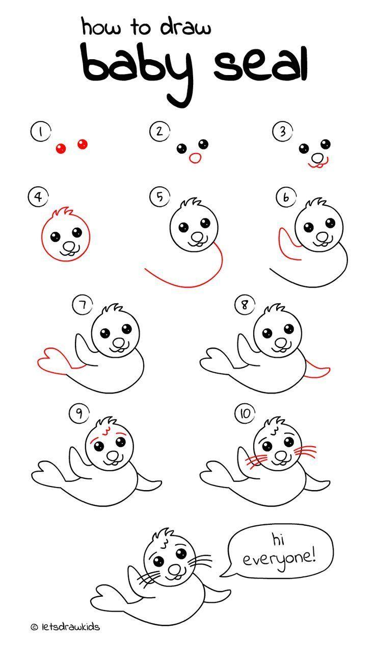 Wie Baby Seal Zu Zeichnen Einfaches Zeichnen Schritt Fur Schritt Perfekt Fur Kinder Lass Uns Malen Architektur Und In 2020 Easy Drawings Baby Drawing Baby Seal