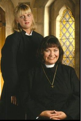 """The Vicar of Dibley,"" Alice Tinker (Emma Chambers) and Geraldine Granger (Dawn French)"