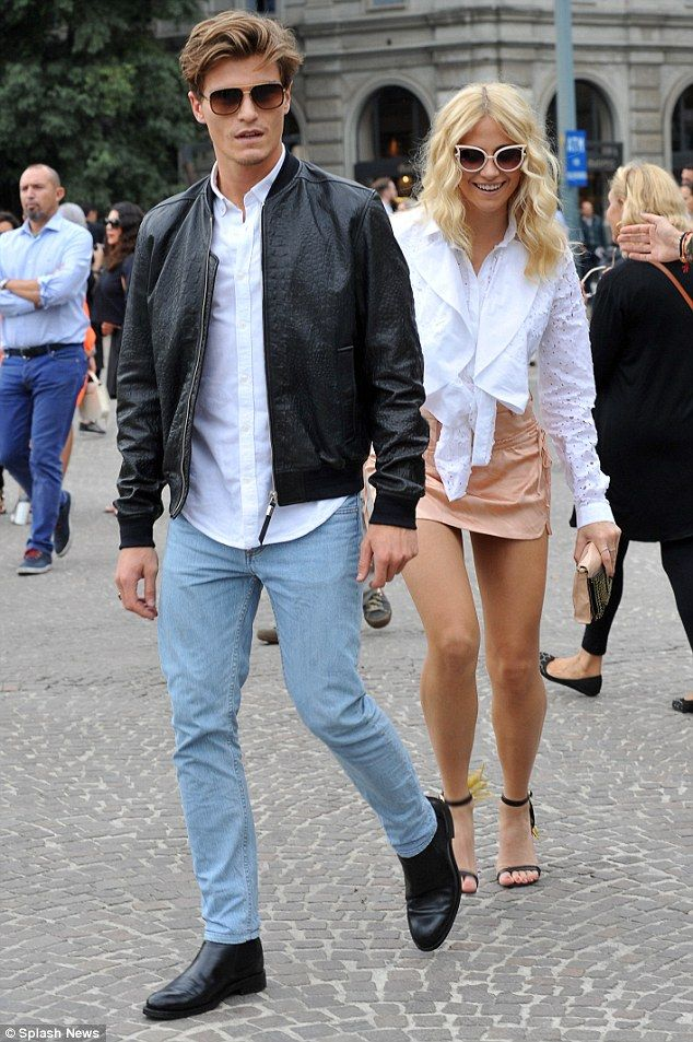 Loved-up: Pixie was seen with her boyfriend Oliver Cheshire attending the Just Cavalli show in the city