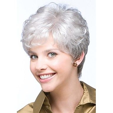 brevi ricci grigio argento parrucche sintetiche dei capelli glueless delle donne alla moda del 3884062 2017 a €14.98