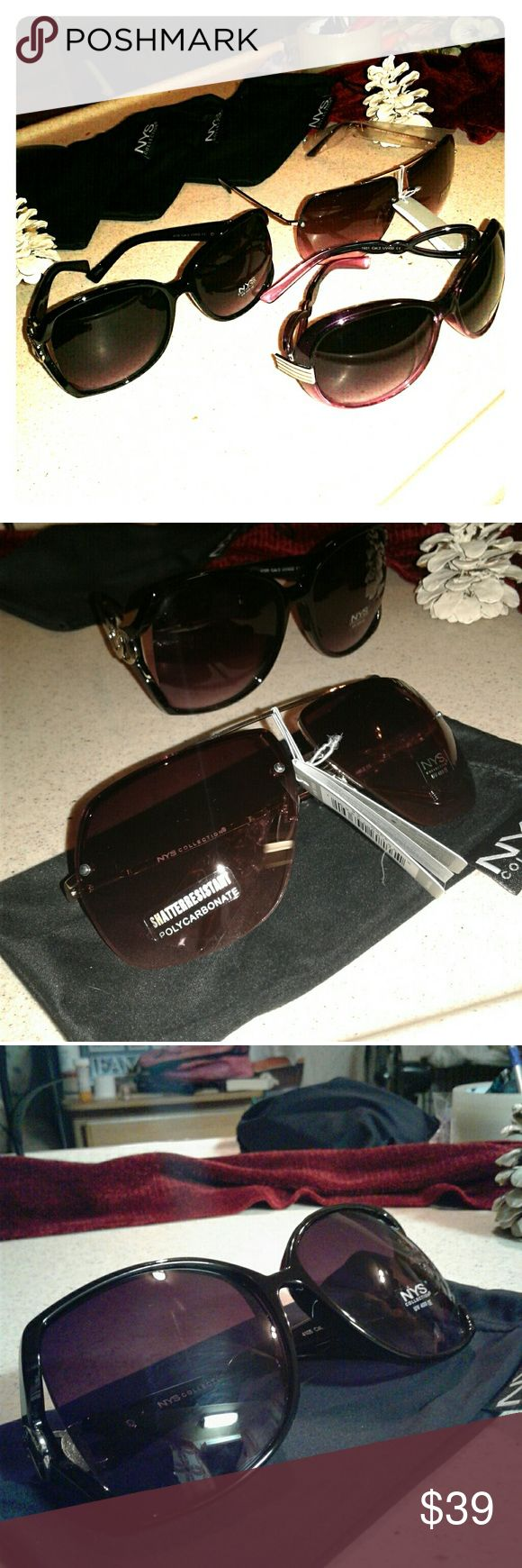 NYS sunglasses bundle UV 400 shatter proof lences, all brand new.  Have never been worn. Purple ones (round) the arm doesn't sit straight when sat on table.  But nothing actually wrong w the glasses. Very cute. NYC Accessories Glasses