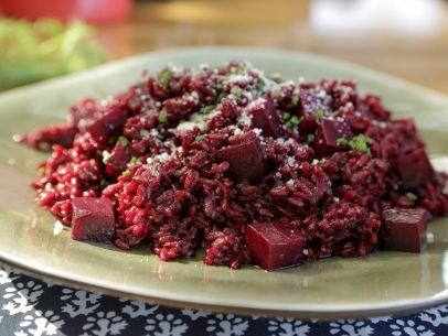 "Beet Risotto with Pecorino (Red Red Risotto) - Guy Fieri, ""Guys Big Bite"" on the Food Network."