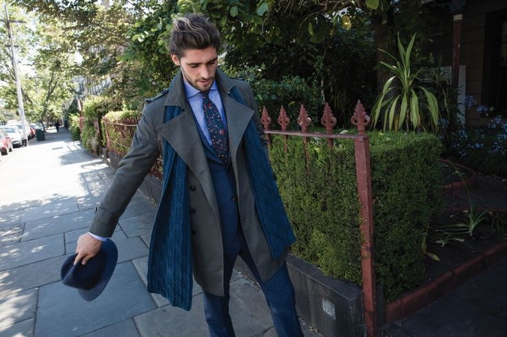 Pergaud khaki trench; Garret navy jacket; Garret navy trouser; Fizalan blue shirt; Fiort navy wool tie.
