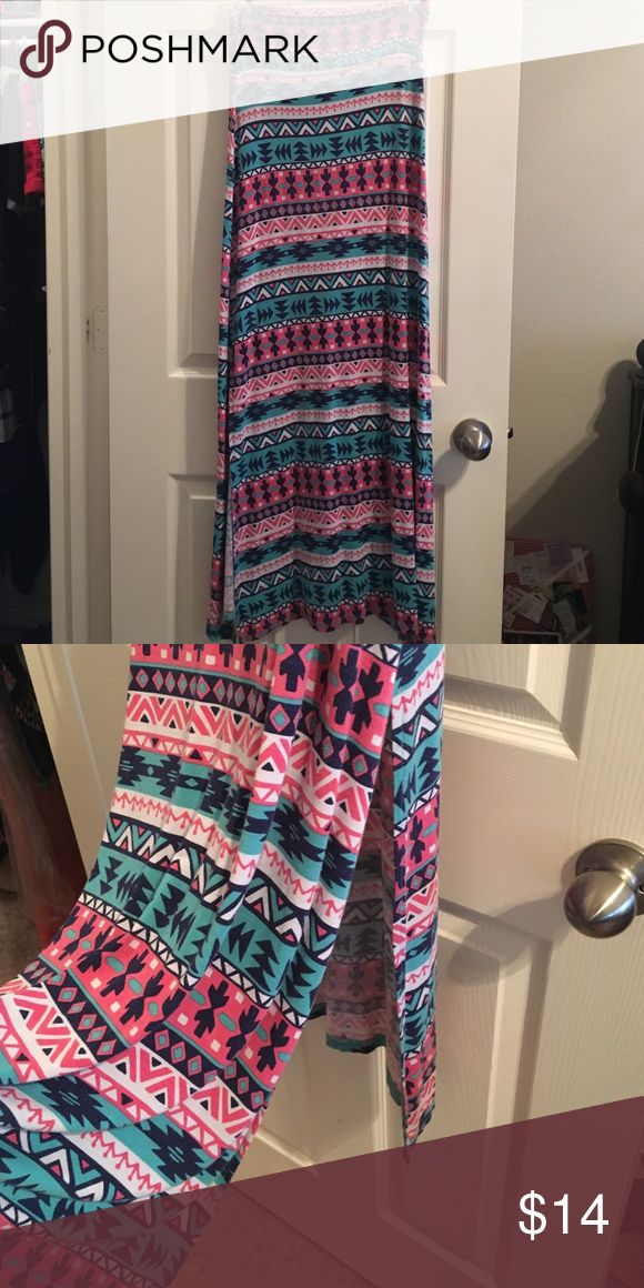 Tribal maxi skirt Colorful maxi skirt with lots of mobility! Rayon fabric with 2 slits to keep you cool. Navy blue, pink, white, and teal green. Charlotte Russe Skirts Maxi