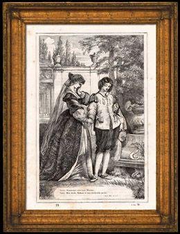 Viola ed Olivia nel Giardino - La Dodicesima Notte - Quel che Volete (Shakespeare) Incisione xilografica originale. Anonima. 1870