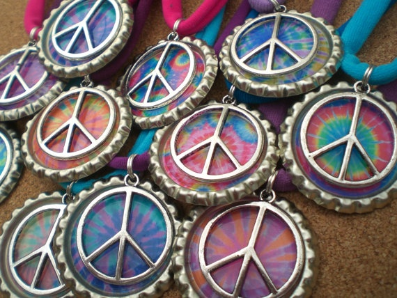Tie Dye Bottle Cap Necklace with Peace Sign by BottleCapBirthdays@Gina Bee