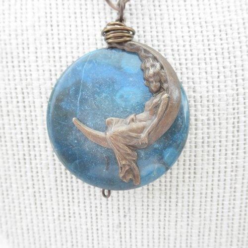 Blue Bullseye Jasper Pendant with Brass Moon Maiden: Brass Moon, Bullsey Jasper, Blue Bullsey, Moon Maiden, Jasper Pendants