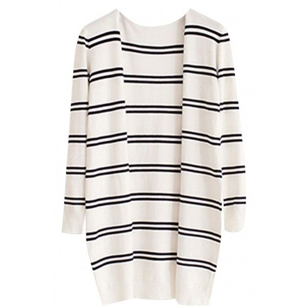 Concise Stripe Knitted Cardigan (125 EGP) ❤ liked on Polyvore featuring tops, cardigans, outerwear, jackets, oasap, striped open front cardigan, white top, long sleeve cardigan, loose cardigan and long sleeve tops