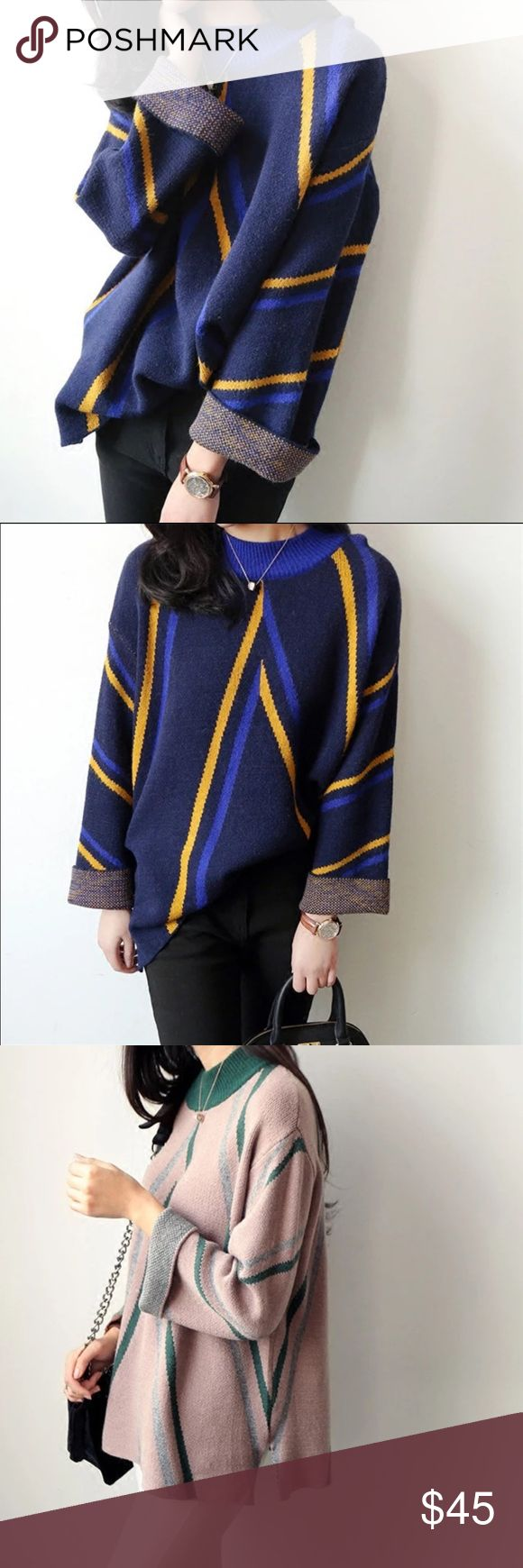 """Coming soon. Stripped soft sweater Material: acrylic. Measurement: one size - bust: 43.3"""", length: 33.6"""", sleeve Length: 16.9"""", shoulder to shoulder: 18.11"""" Sweaters"""