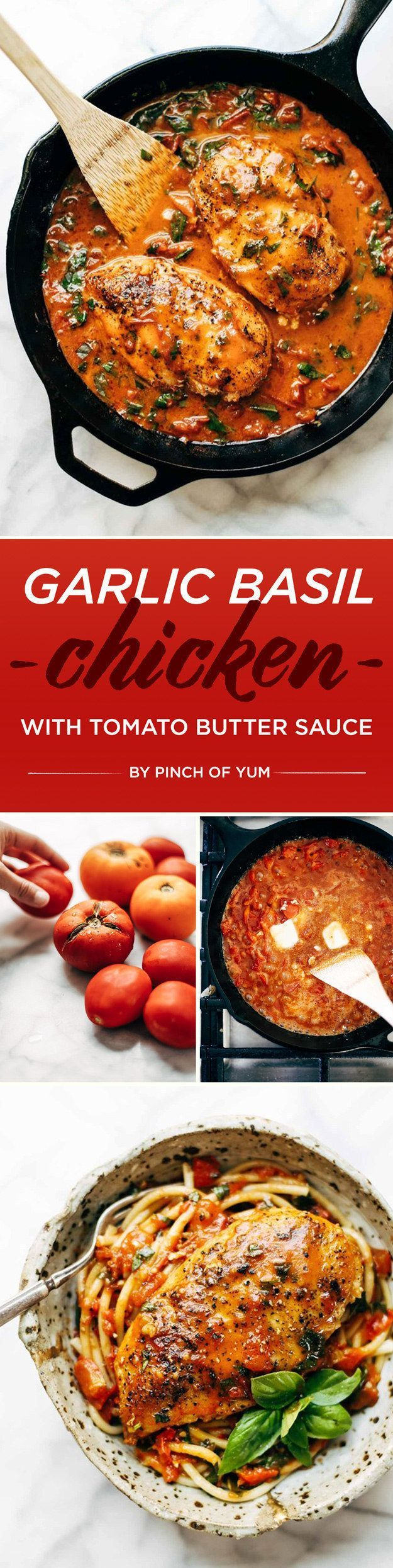 Garlic Basil Chicken with Tomato Butter Sauce For more great recipe ideas check…