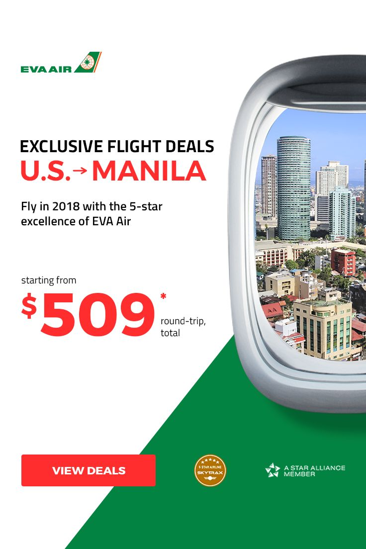 ⭐ Exclusive EVA Air Deals to Manila ⭐ ⭐⭐⭐⭐⭐ Fly to Manila in 5-star quality with EVA Air from $509* all-in! We've secured exclusive deals to Manila from San Francisco, LA, Seattle, Chicago, NY, and Houston. Travel period: Jan 11 - May 15, 2018. Sale ends Dec 3, 2017 Call today at 844-895-2138 (24/7 & toll-free) to grab your ticket!