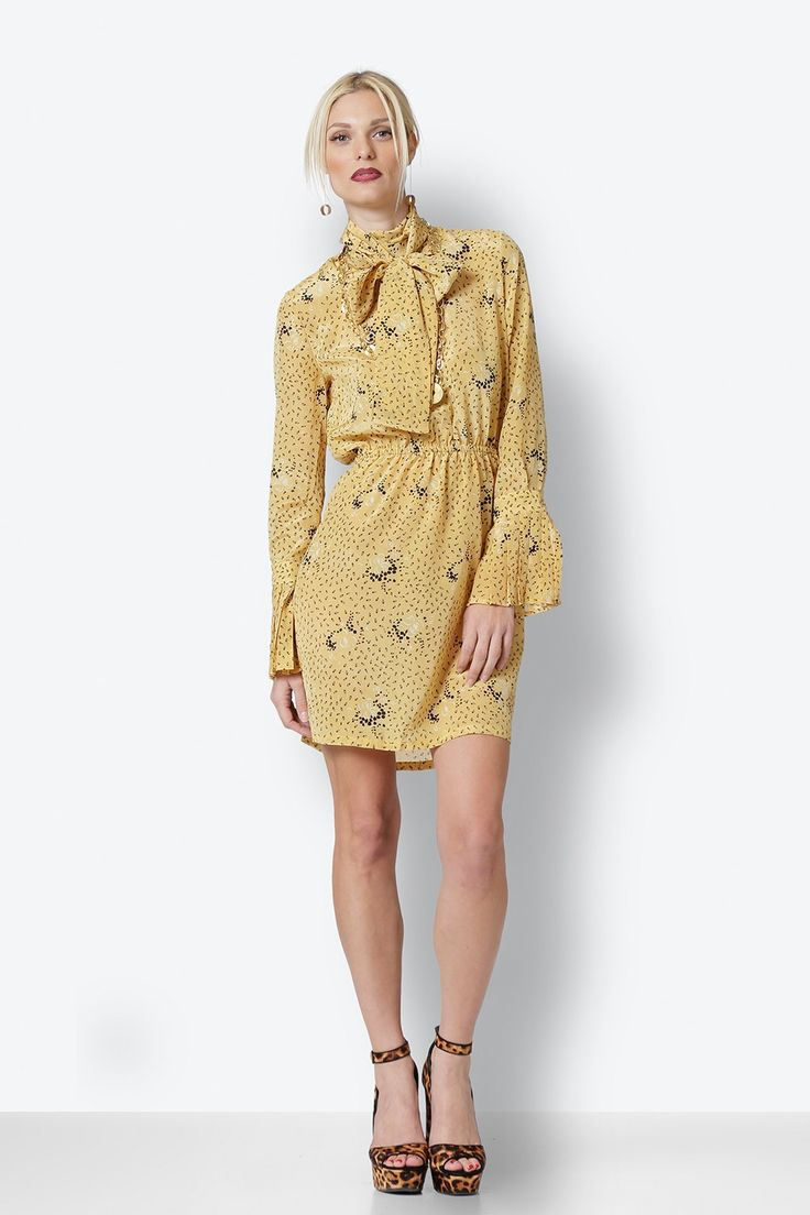 Yellow Mini Dress with print