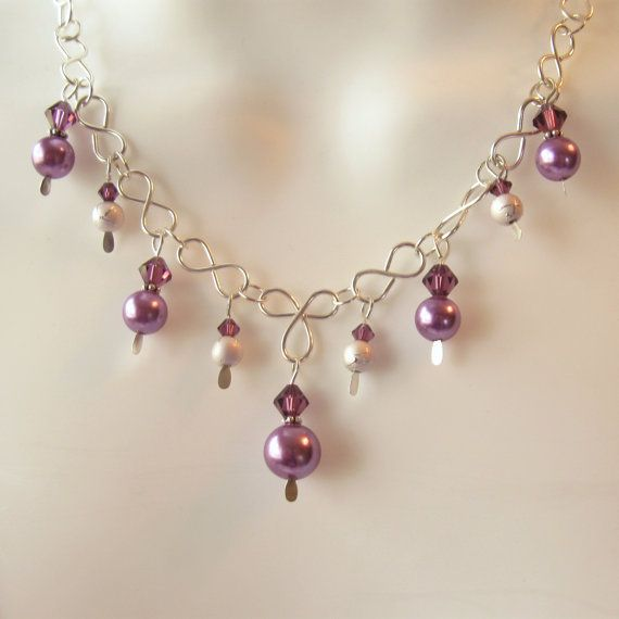 {Inspiration} Pearl Crystal Necklace Set  Wire Work and Purple by NewCreations1, $25.00